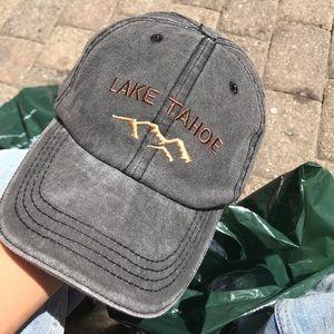 Faded black Lake Tahoe hat